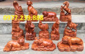 tượng 12 con giáp gỗ hương nam phi