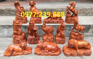 tượng 12 con giáp gỗ hương ta