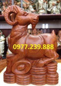 tượng dê gỗ hương đá