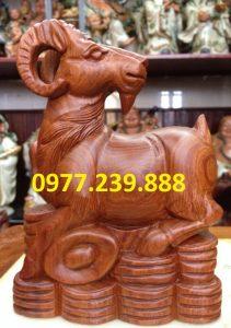 tượng dê gỗ hương đỏ