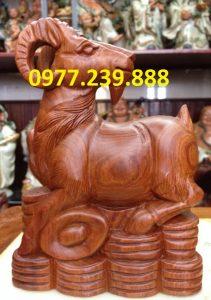 tượng dê gỗ hương