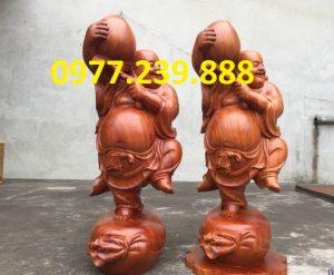 tượng di lạc vác đào gỗ hương giá rẻ