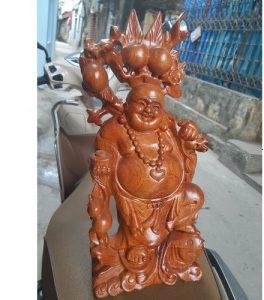 tượng di lặc cưỡi cá chép gỗ hương 15cm