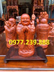 tượng di lặc chúc phúc bằng gỗ hương 60cm