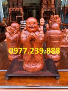 tượng di lặc chúc phúc bằng gỗ hương 70cm
