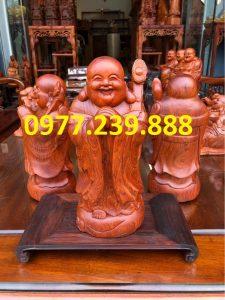 tượng di lặc chúc phúc gỗ hương 30cm