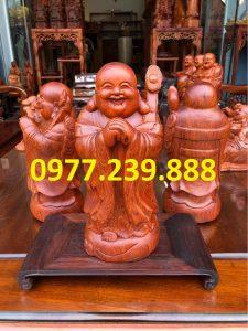 tượng di lặc chúc phúc gỗ hương 40cm