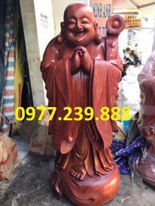 tượng di lặc chúc phúc gỗ hương 60cm
