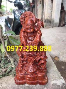 tượng di lặc dâng tiền nhị phúc bằng gỗ hương đá