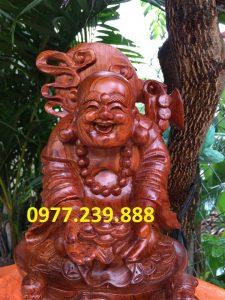 tượng di lặc dâng tiền nhị phúc bằng gỗ hương đỏ