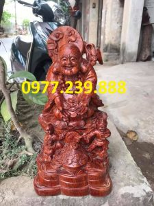 tượng di lặc dâng tiền nhị phúc bằng gỗ hương