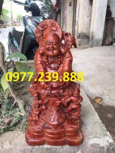 tượng di lặc dâng tiền nhị phúc bằng gỗ hương giá rẻ