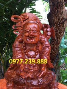tượng di lặc dâng tiền nhị phúc bằng gỗ hương nam phi