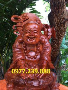 tượng di lặc dâng tiền nhị phúc bằng gỗ hương việt