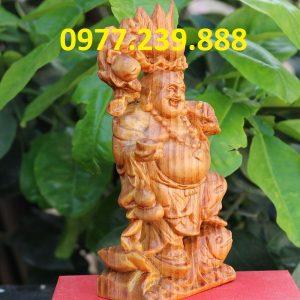 tượng di lặc gánh đào gỗ huyết long 15cm