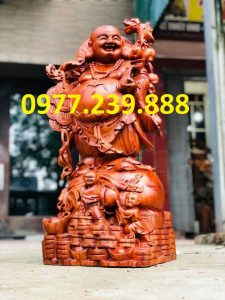 tượng di lặc gánh cành đào bằng hương 50cm