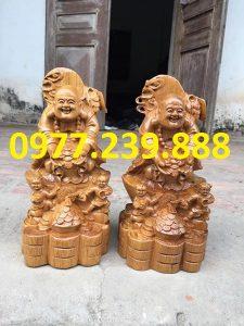 tượng di lặc nhị phúc dâng tiền bằng gỗ bách xanh 40cm