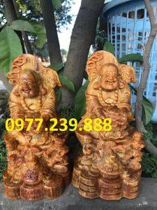 tượng di lặc nhị phúc dâng tiền bằng gỗ huyết long