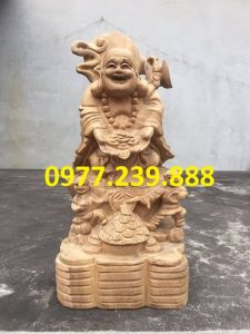 tượng di lặc nhị phúc dâng tiền gỗ bách xanh 30cm