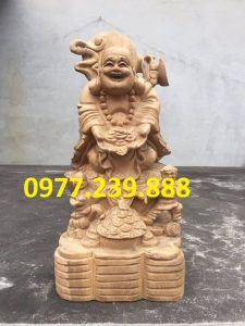 tượng di lặc nhị phúc dâng tiền gỗ bách xanh 40cm