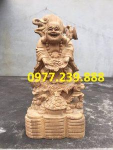 tượng di lặc nhị phúc dâng tiền gỗ bách xanh 60cm