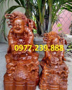 tượng di lặc nhị phúc dâng tiền gỗ hương đá
