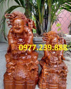 tượng di lặc nhị phúc dâng tiền gỗ hương