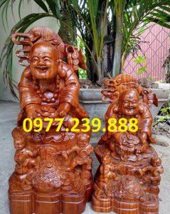 tượng di lặc nhị phúc dâng tiền gỗ hương 30cm