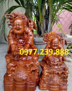 tượng di lặc nhị phúc dâng tiền gỗ hương 50cm