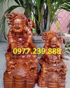 tượng di lặc nhị phúc dâng tiền gỗ hương 60cm