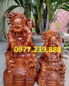 tượng di lặc nhị phúc dâng tiền gỗ hương nam phi