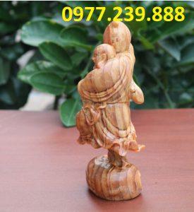 tượng di lặc vác đào bằng gỗ huyết long