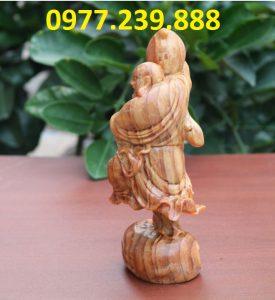 tượng di lặc vác đào bằng gỗ huyết long 30cm