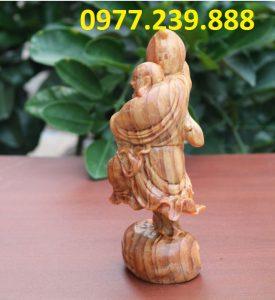 tượng di lặc vác đào bằng gỗ huyết long 40cm