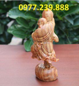 tượng di lặc vác đào bằng gỗ huyết long 60cm