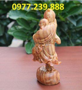 tượng di lặc vác đào gỗ huyết long 60cm