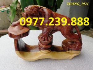 tượng hổ bằng gỗ trắc dây 20cm