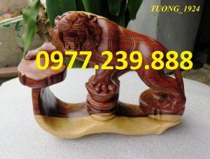 tượng hổ gỗ trắc dây dài 20cm