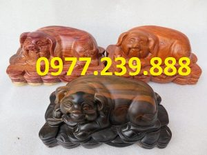 tượng heo bằng gỗ hương