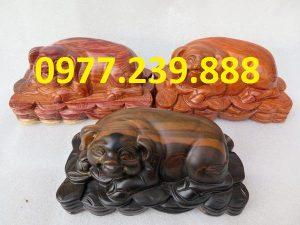 tượng heo bằng gỗ hương dài 20cm