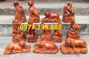 tượng linh vật 12 con giáp gỗ hương đá