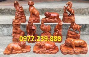 tượng linh vật 12 con giáp gỗ hương