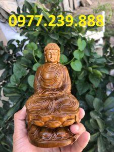 tượng phật ông thích ca bằng gỗ bách xanh 15cm