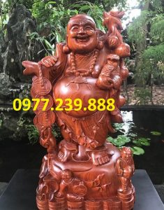 tượng phật di lặc gánh cành đào gỗ hương 60cm