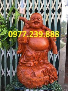 tượng phật di lặc gánh cành đào hương cao 70cm