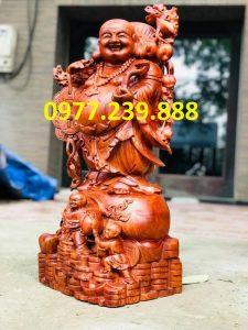 tượng phật di lặc gánh tiền bằng gỗ hương việt