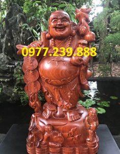 tượng phật di lặc gánh tiền gỗ hương 50cm