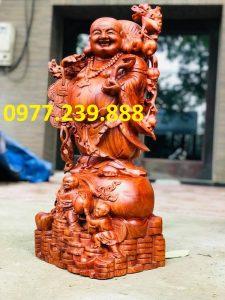 tượng phật di lặc gánh tiền gỗ hương nam phi