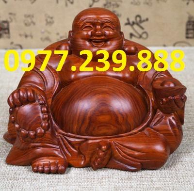 tượng phật di lặc ngồi phong thủy bằng gỗ hương 13cm