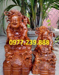 tượng phật di lặc nhị phúc dâng tiền gỗ hương